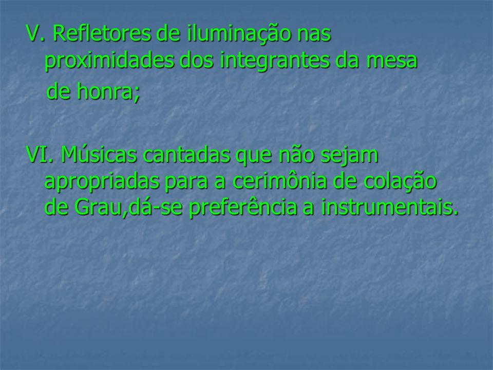V. Refletores de iluminação nas proximidades dos integrantes da mesa