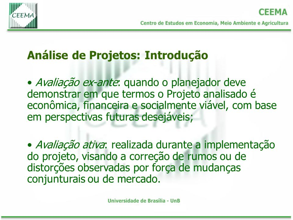 Análise de Projetos: Introdução