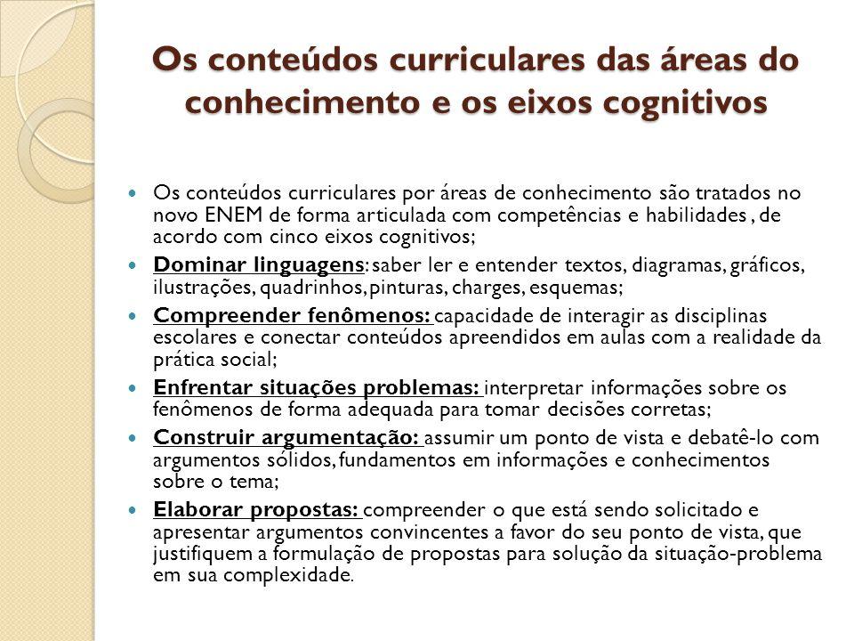 Os conteúdos curriculares das áreas do conhecimento e os eixos cognitivos