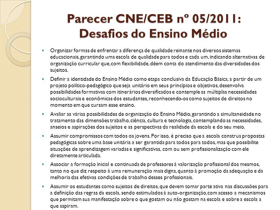 Parecer CNE/CEB nº 05/2011: Desafios do Ensino Médio