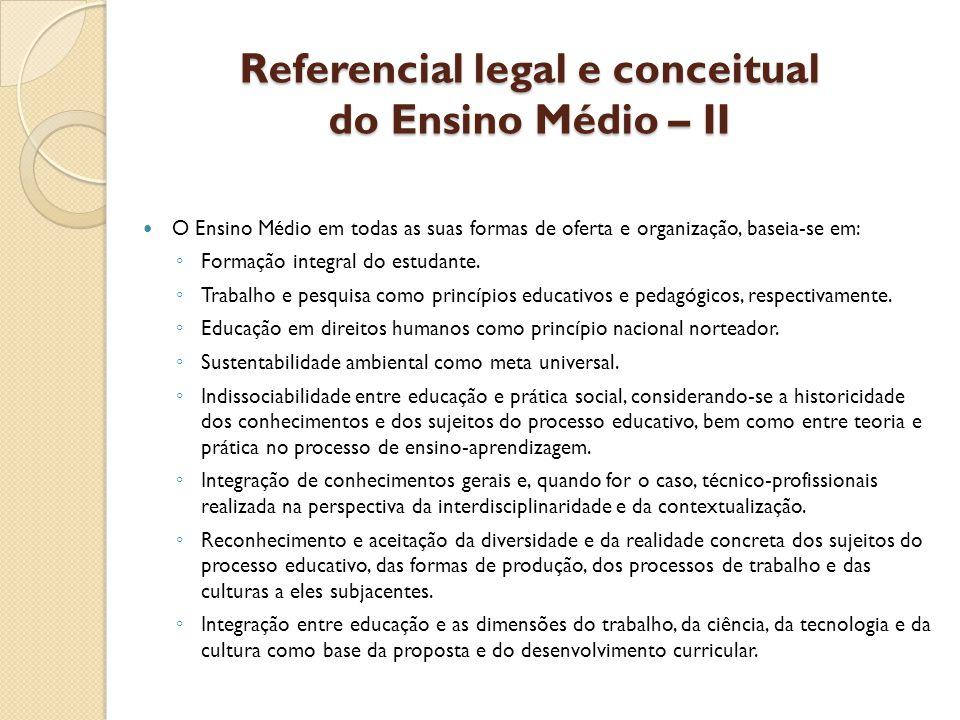 Referencial legal e conceitual do Ensino Médio – II