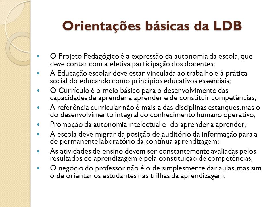 Orientações básicas da LDB