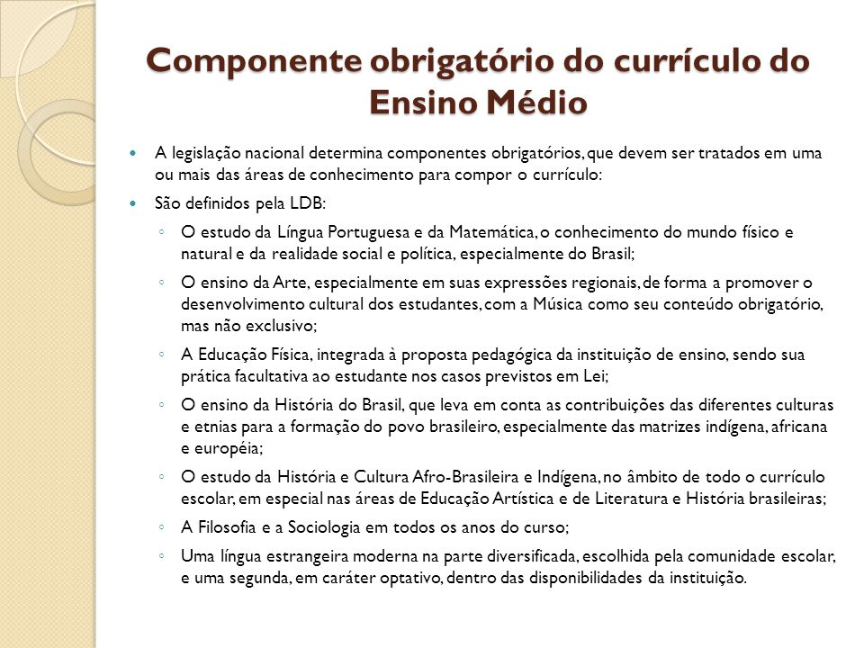 Componente obrigatório do currículo do Ensino Médio