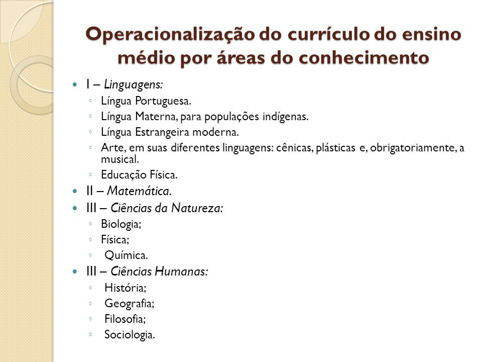 Operacionalização do currículo do ensino médio por áreas do conhecimento