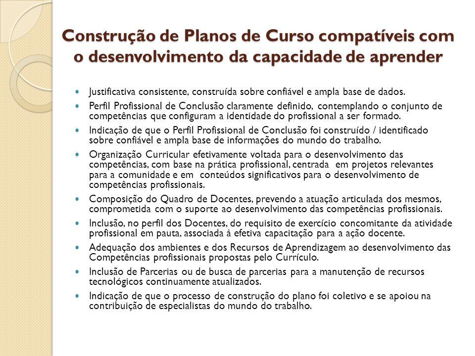 Construção de Planos de Curso compatíveis com o desenvolvimento da capacidade de aprender
