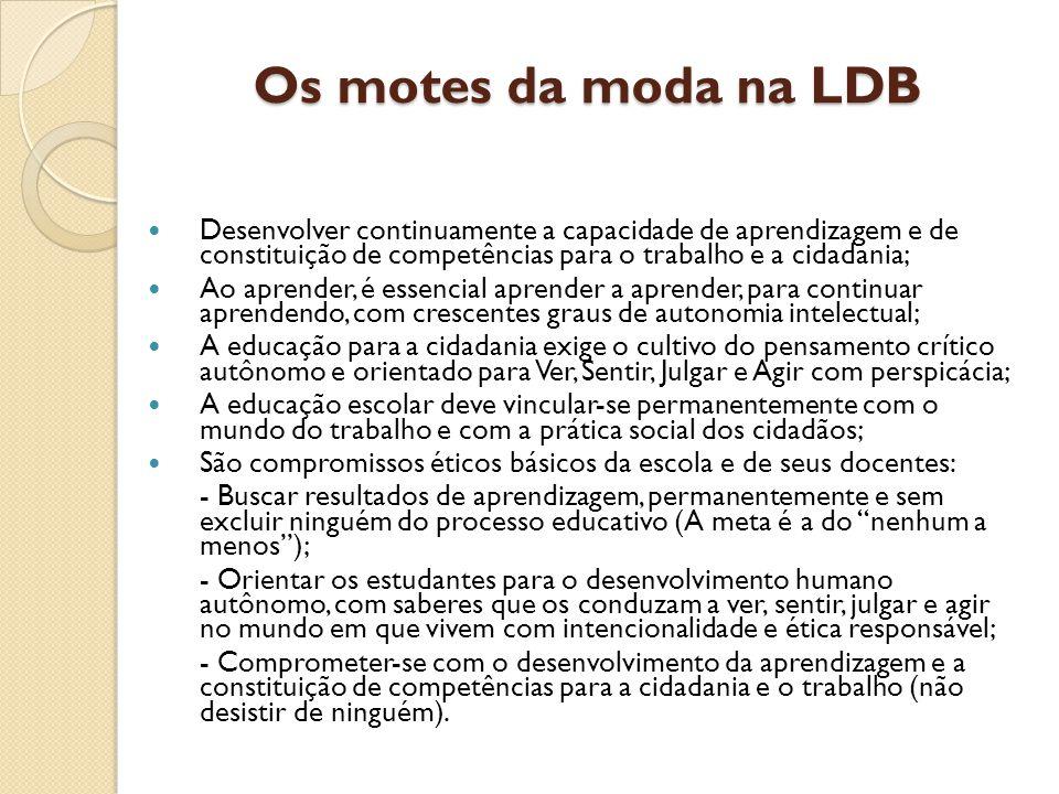Os motes da moda na LDB Desenvolver continuamente a capacidade de aprendizagem e de constituição de competências para o trabalho e a cidadania;