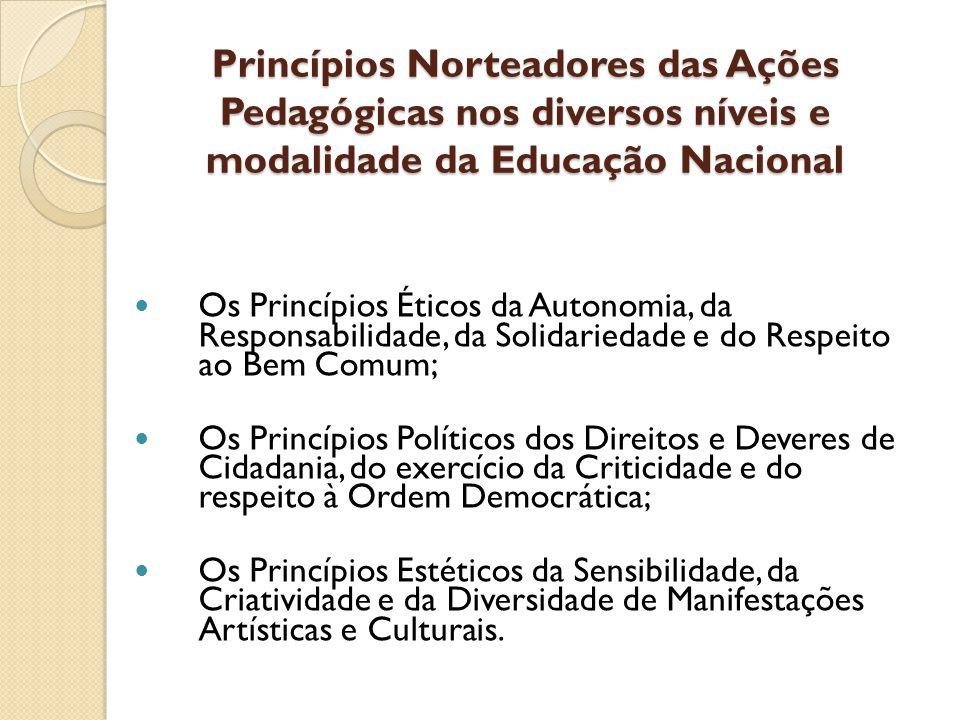 Princípios Norteadores das Ações Pedagógicas nos diversos níveis e modalidade da Educação Nacional