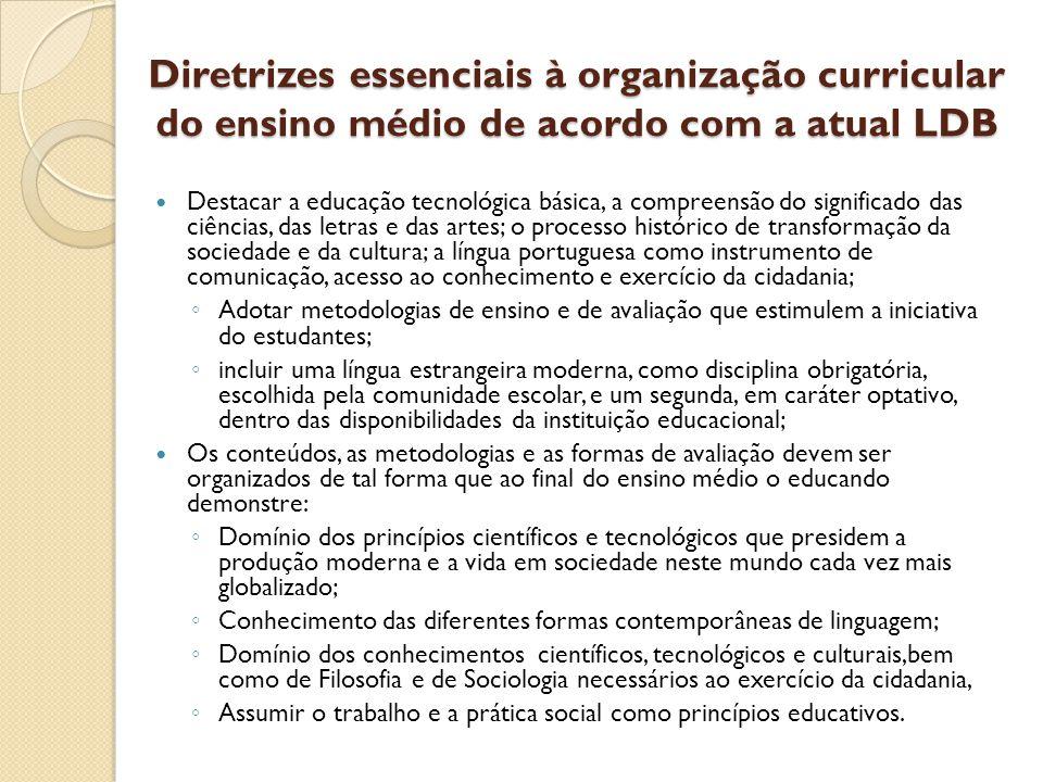 Diretrizes essenciais à organização curricular do ensino médio de acordo com a atual LDB
