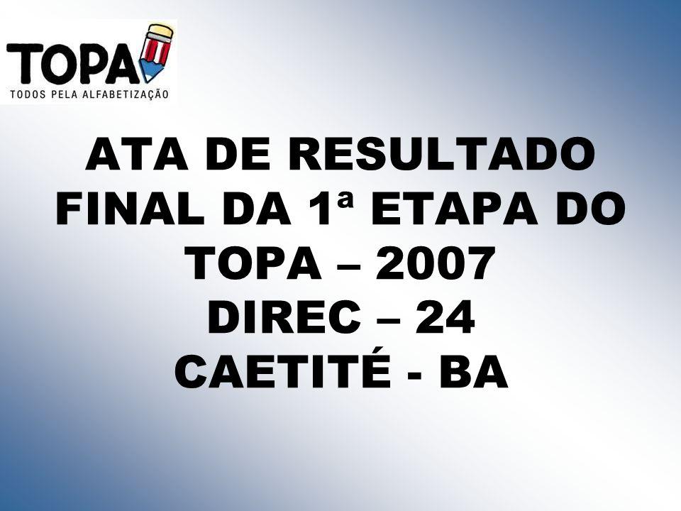 ATA DE RESULTADO FINAL DA 1ª ETAPA DO TOPA – 2007 DIREC – 24 CAETITÉ - BA