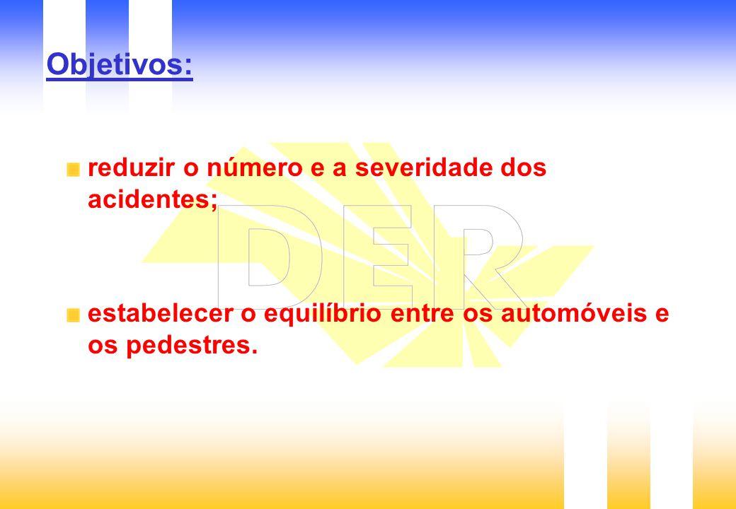 Objetivos: reduzir o número e a severidade dos acidentes;