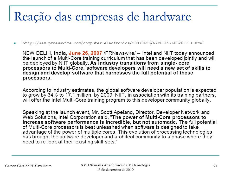 Reação das empresas de hardware