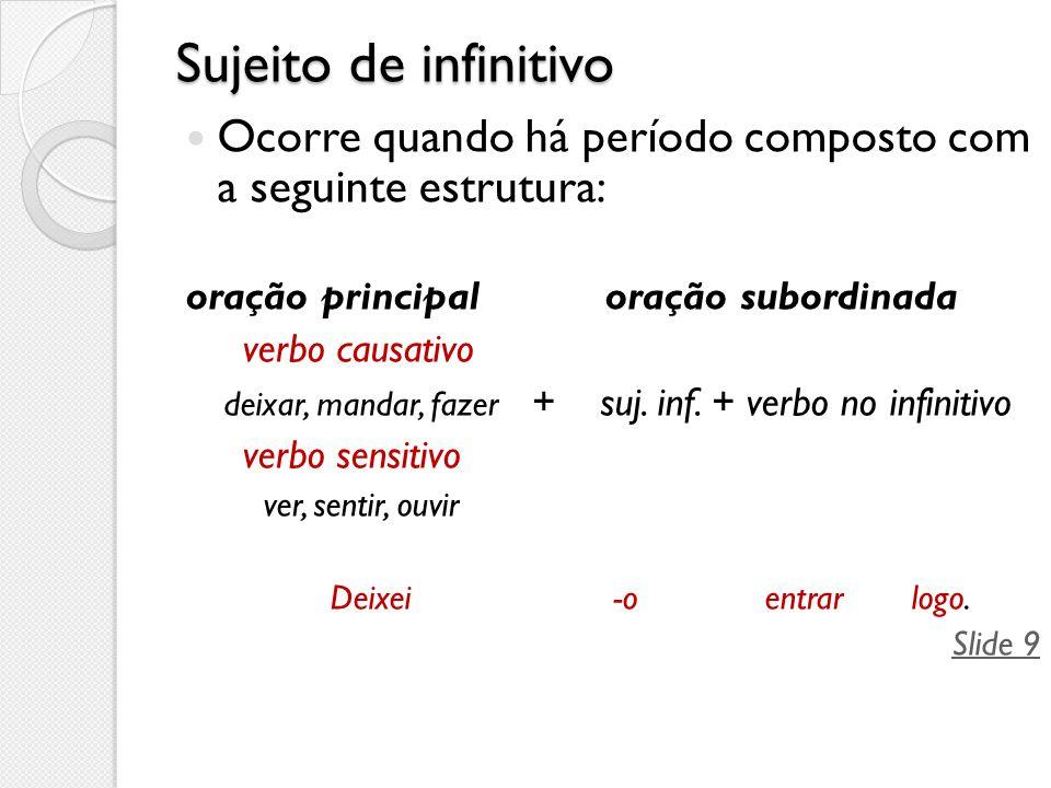 Sujeito de infinitivo Ocorre quando há período composto com a seguinte estrutura: oração principal oração subordinada.