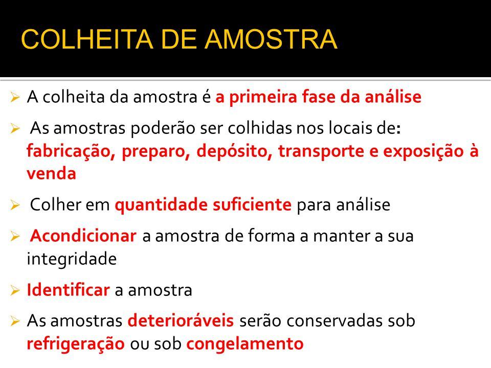 COLHEITA DE AMOSTRA A colheita da amostra é a primeira fase da análise