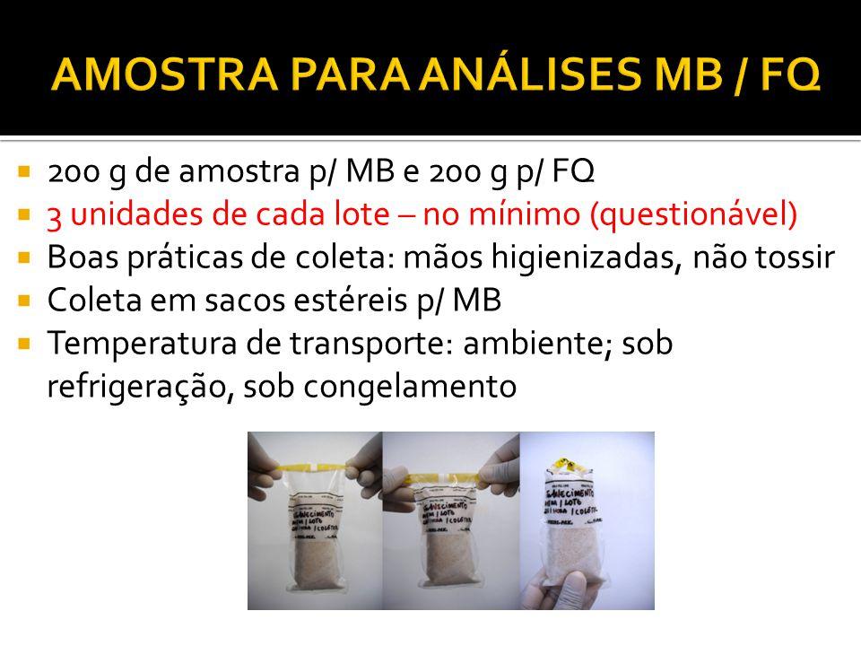 AMOSTRA PARA ANÁLISES MB / FQ