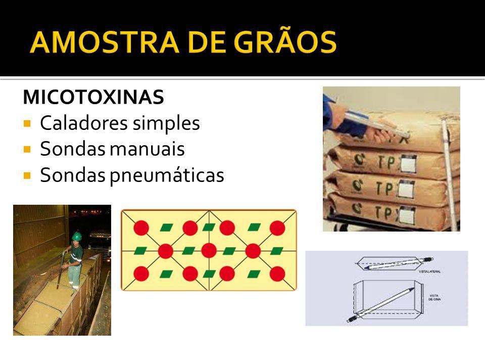 AMOSTRA DE GRÃOS MICOTOXINAS Caladores simples Sondas manuais