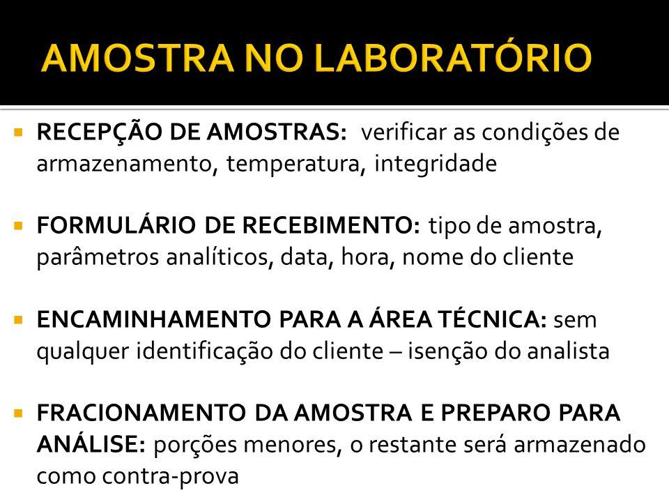 AMOSTRA NO LABORATÓRIO