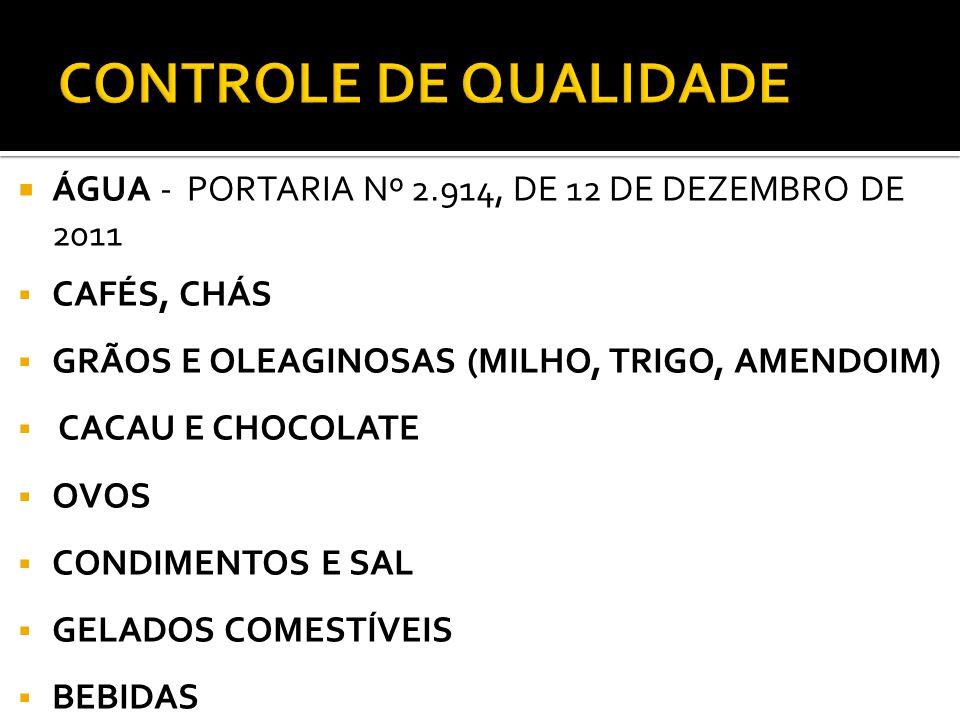 CONTROLE DE QUALIDADE ÁGUA - PORTARIA Nº 2.914, DE 12 DE DEZEMBRO DE 2011. CAFÉS, CHÁS. GRÃOS E OLEAGINOSAS (MILHO, TRIGO, AMENDOIM)