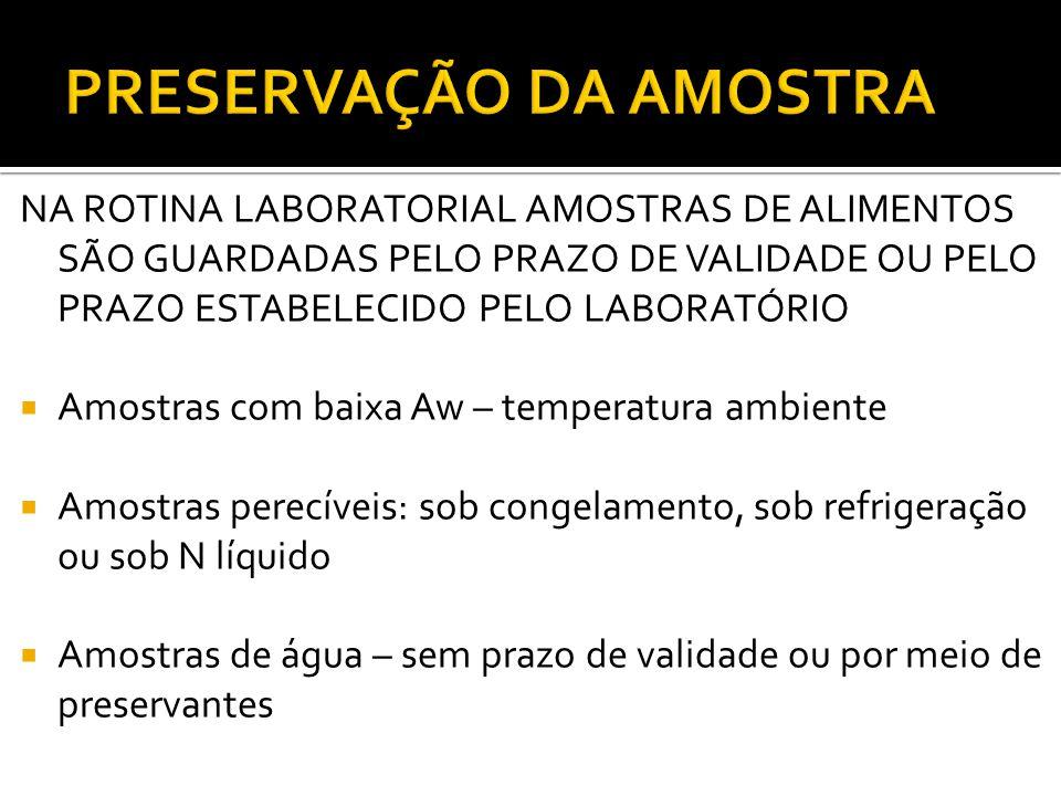 PRESERVAÇÃO DA AMOSTRA