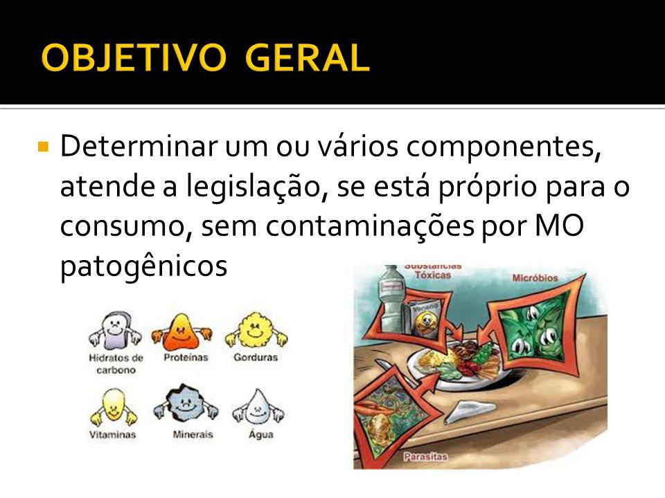 OBJETIVO GERAL Determinar um ou vários componentes, atende a legislação, se está próprio para o consumo, sem contaminações por MO patogênicos.