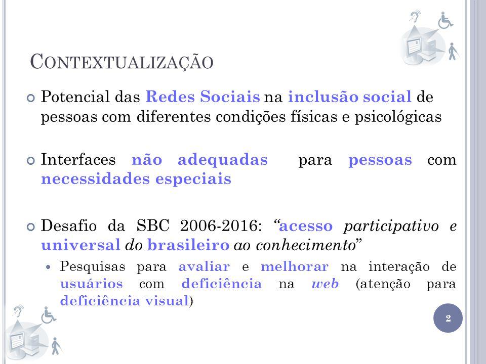 Contextualização Potencial das Redes Sociais na inclusão social de pessoas com diferentes condições físicas e psicológicas.