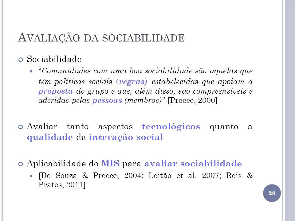Avaliação da sociabilidade