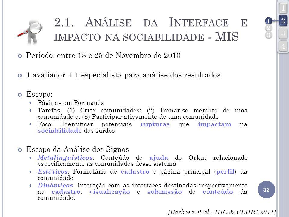 2.1. Análise da Interface e impacto na sociabilidade - MIS