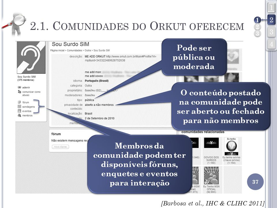2.1. Comunidades do Orkut oferecem