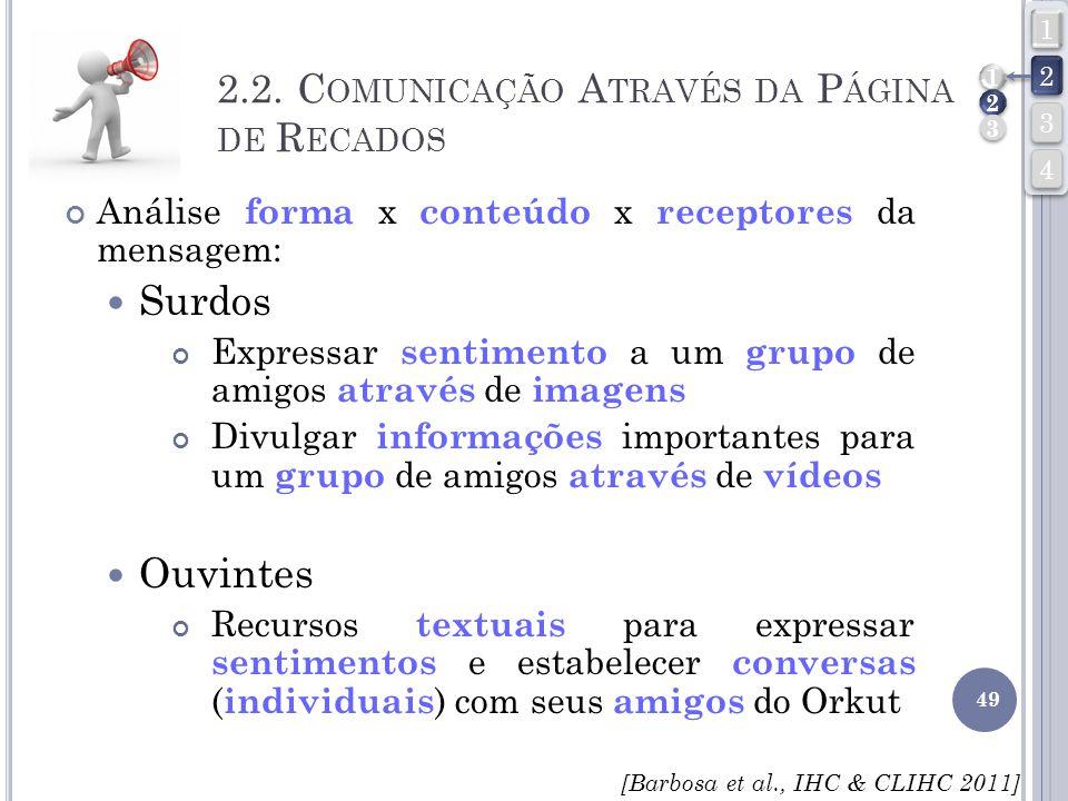 2.2. Comunicação Através da Página de Recados