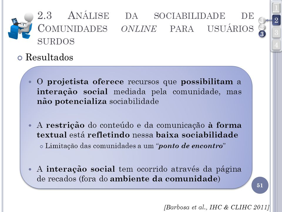 4 3. 2. 1. 2.3 Análise da sociabilidade de Comunidades online para usuários surdos. 1. 2. 3. Resultados.