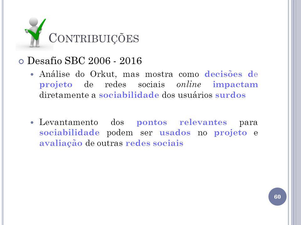 Contribuições Desafio SBC 2006 - 2016