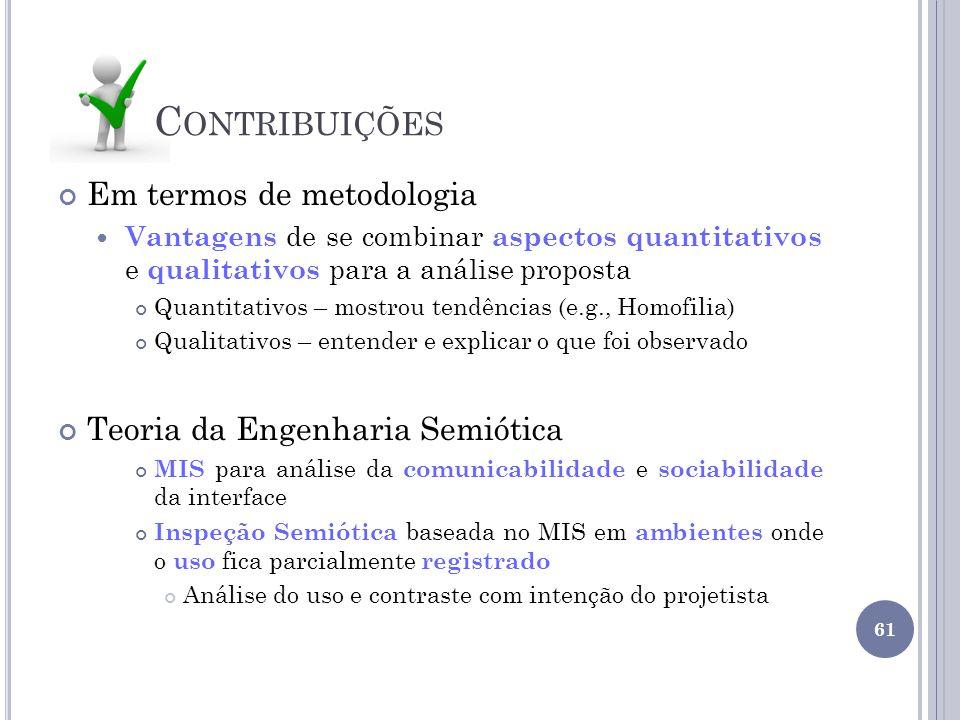 Contribuições Em termos de metodologia Teoria da Engenharia Semiótica