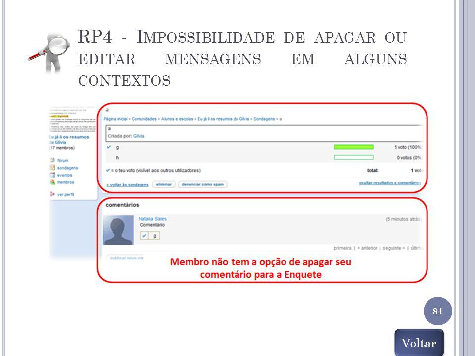 RP4 - Impossibilidade de apagar ou editar mensagens em alguns contextos