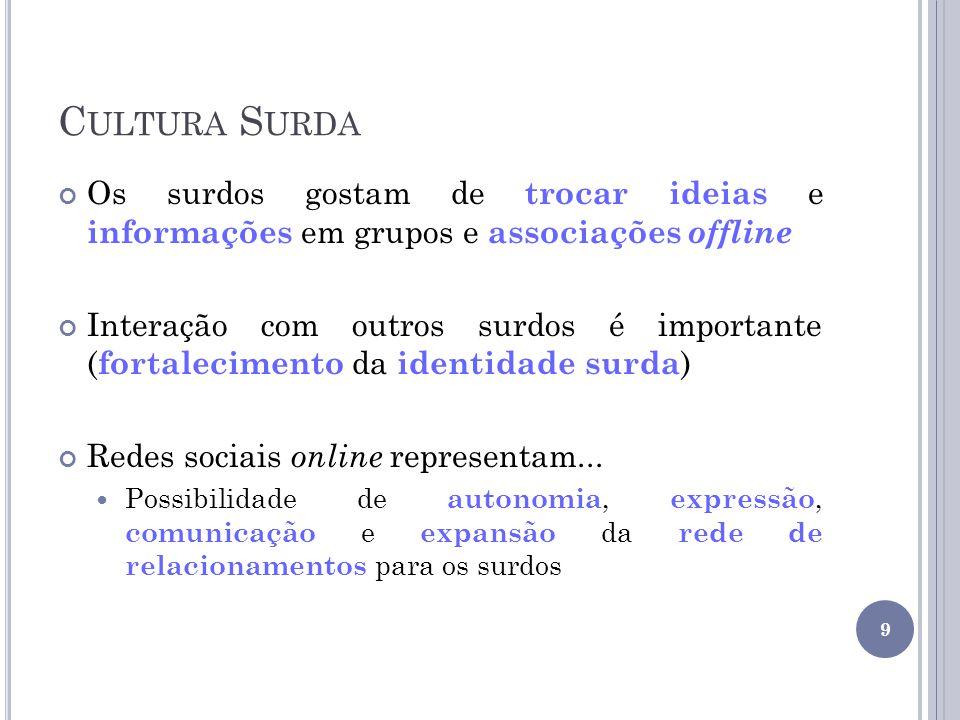 Cultura Surda Os surdos gostam de trocar ideias e informações em grupos e associações offline.