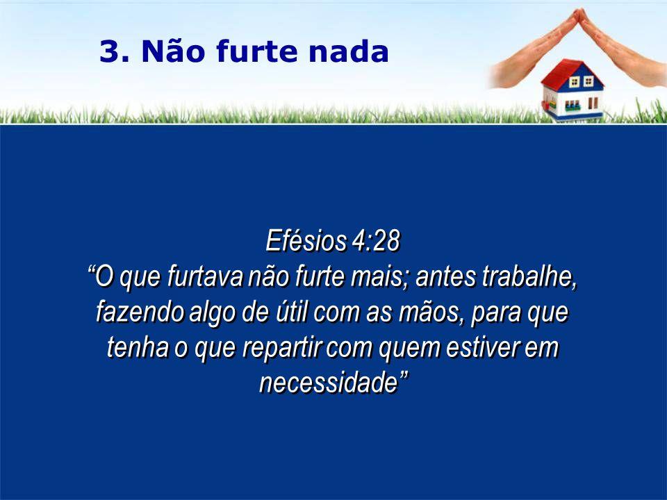 3. Não furte nada Efésios 4:28.