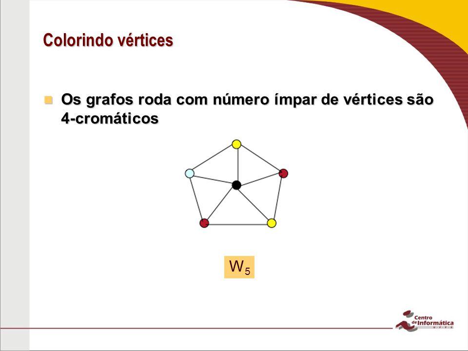 Colorindo vértices Os grafos roda com número ímpar de vértices são 4-cromáticos W5