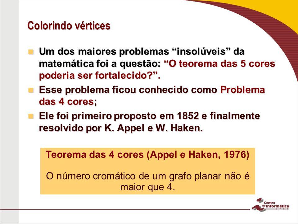 Teorema das 4 cores (Appel e Haken, 1976)