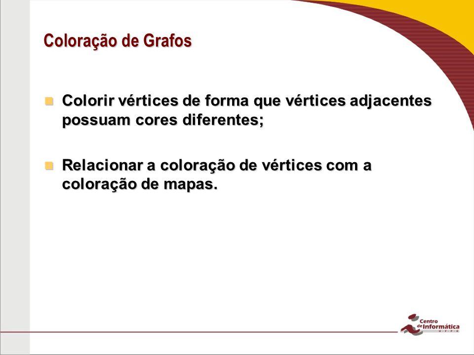 Coloração de Grafos Colorir vértices de forma que vértices adjacentes possuam cores diferentes;