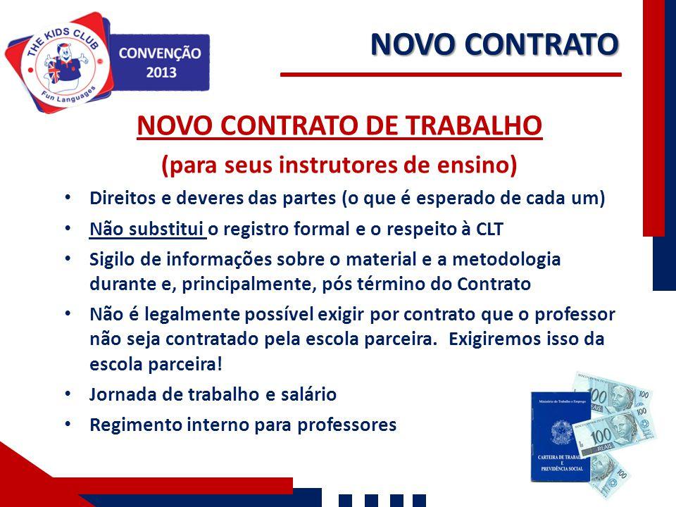NOVO CONTRATO DE TRABALHO (para seus instrutores de ensino)