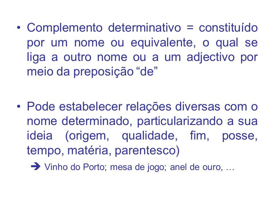 Complemento determinativo = constituído por um nome ou equivalente, o qual se liga a outro nome ou a um adjectivo por meio da preposição de