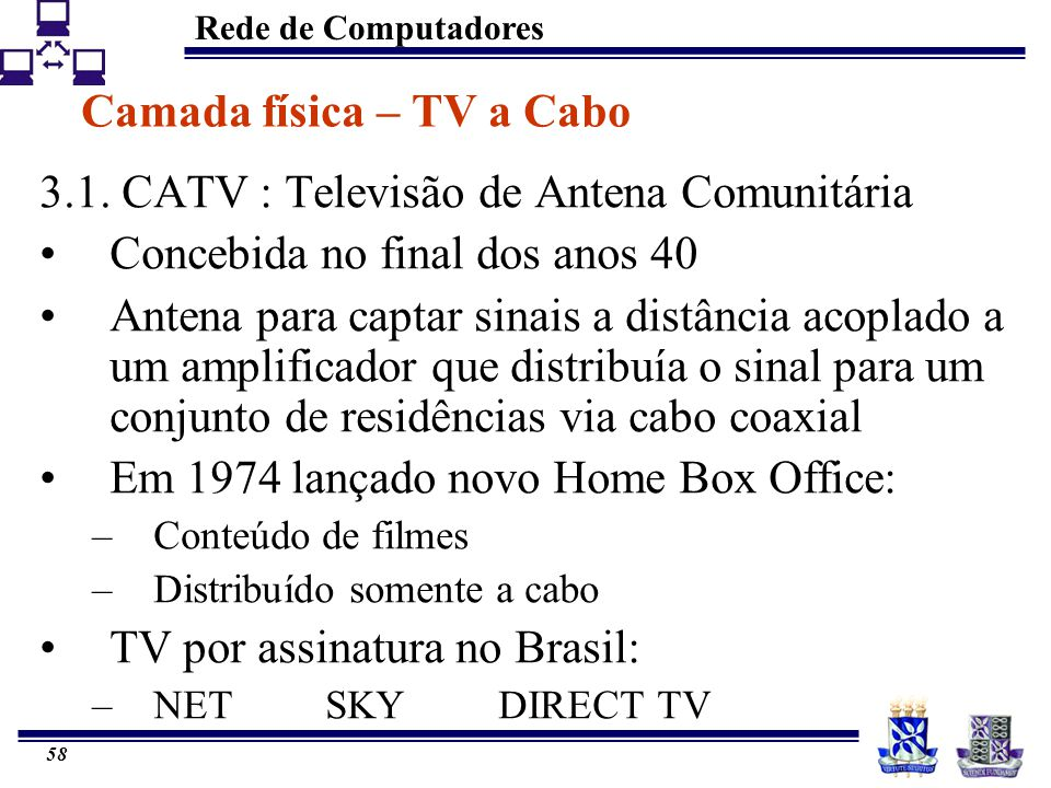 Camada física – TV a Cabo
