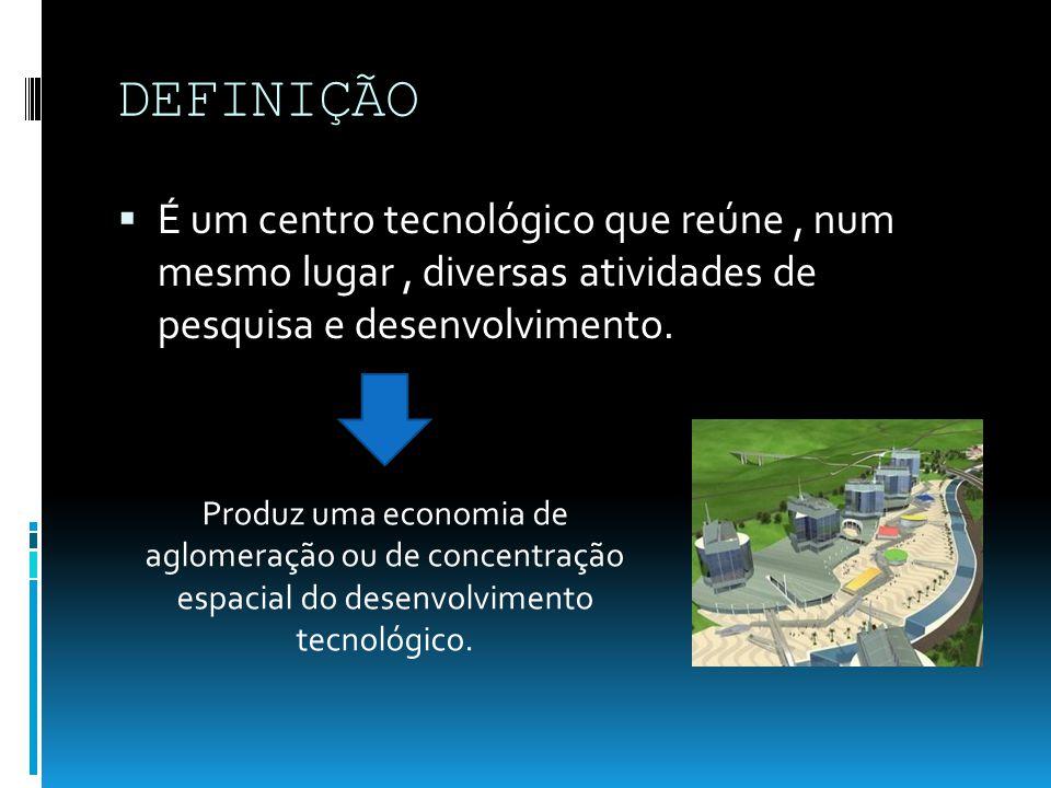 DEFINIÇÃO É um centro tecnológico que reúne , num mesmo lugar , diversas atividades de pesquisa e desenvolvimento.