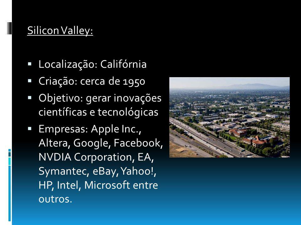 Silicon Valley: Localização: Califórnia. Criação: cerca de 1950. Objetivo: gerar inovações científicas e tecnológicas.