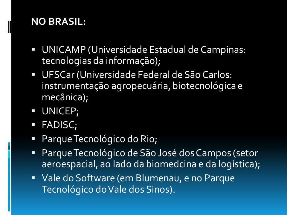 NO BRASIL: UNICAMP (Universidade Estadual de Campinas: tecnologias da informação);