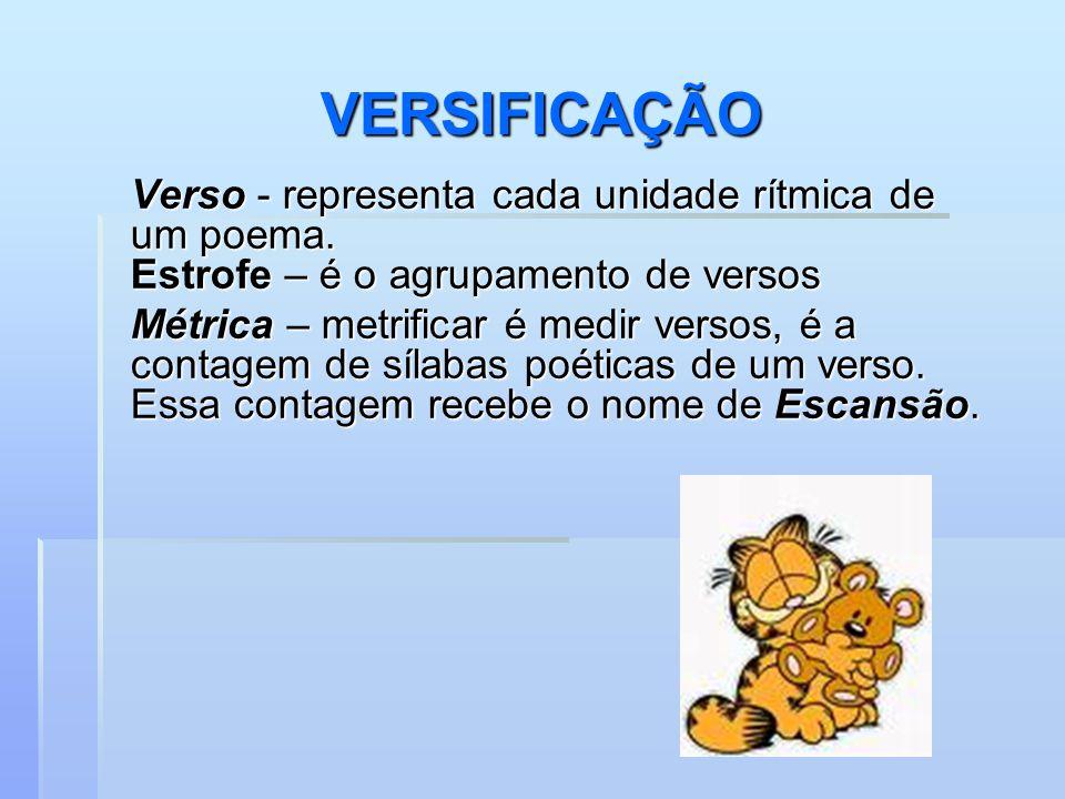 VERSIFICAÇÃO Verso - representa cada unidade rítmica de um poema. Estrofe – é o agrupamento de versos.
