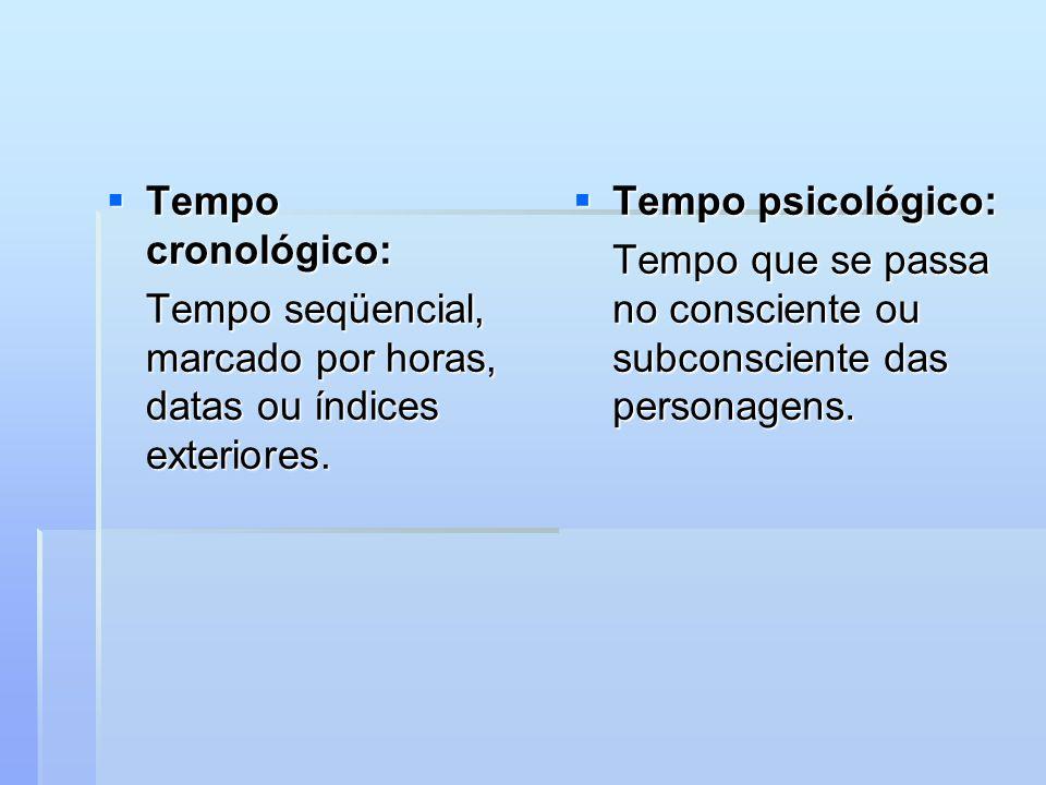 Tempo cronológico: Tempo seqüencial, marcado por horas, datas ou índices exteriores. Tempo psicológico: