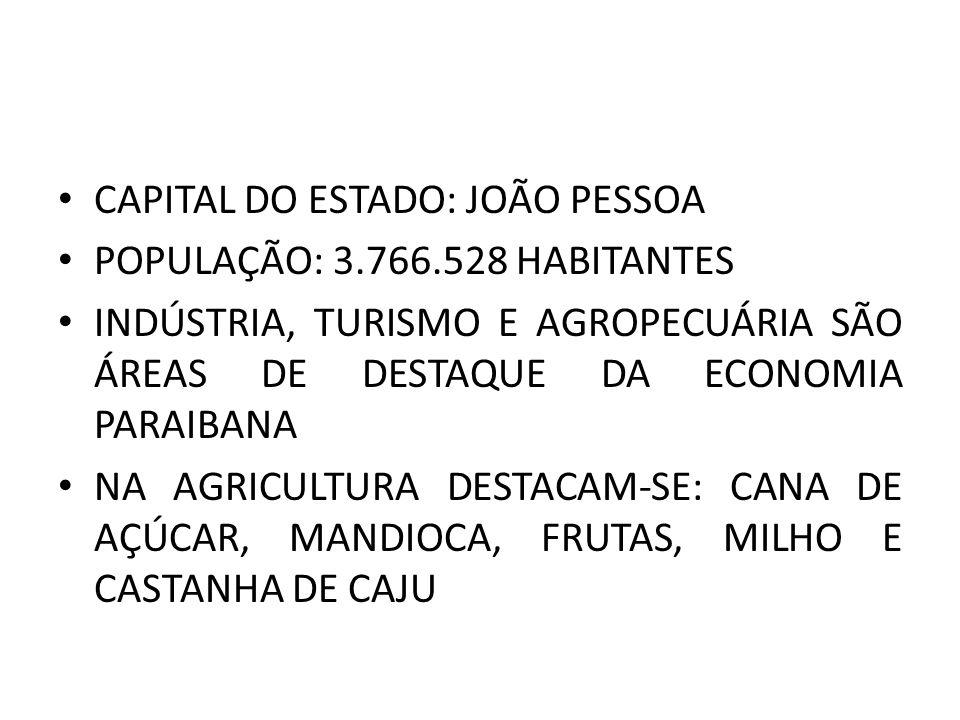 CAPITAL DO ESTADO: JOÃO PESSOA