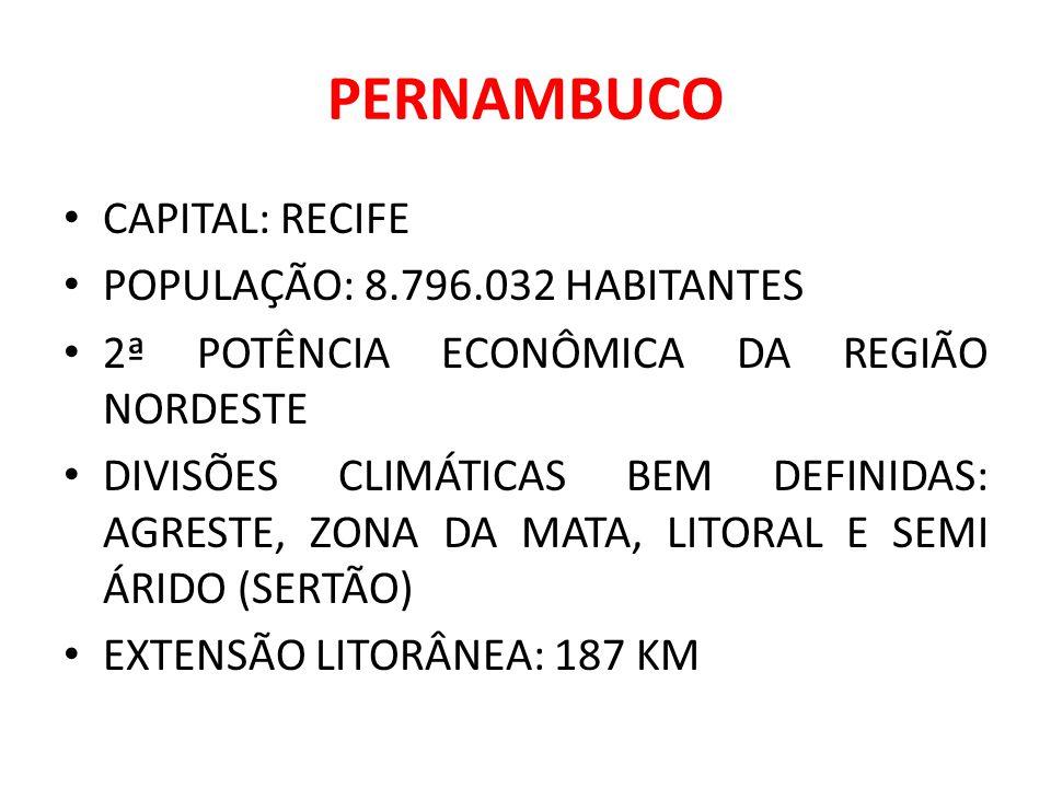 PERNAMBUCO CAPITAL: RECIFE POPULAÇÃO: 8.796.032 HABITANTES