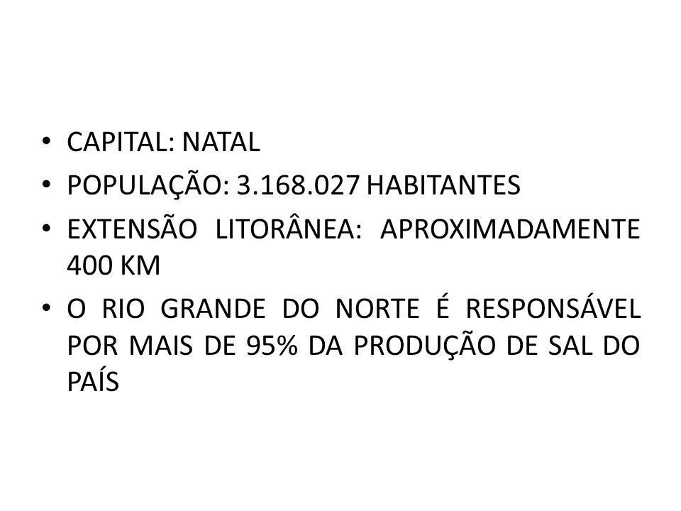 CAPITAL: NATAL POPULAÇÃO: 3.168.027 HABITANTES. EXTENSÃO LITORÂNEA: APROXIMADAMENTE 400 KM.