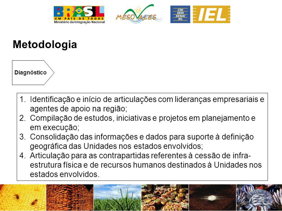 Metodologia Diagnóstico. Identificação e início de articulações com lideranças empresariais e agentes de apoio na região;