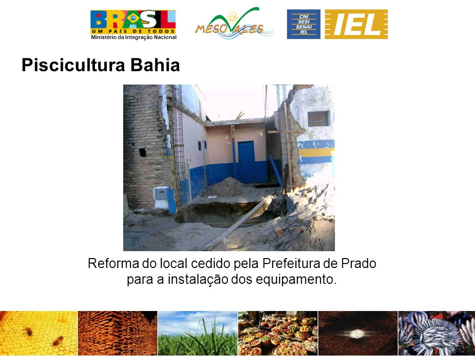 Piscicultura Bahia Reforma do local cedido pela Prefeitura de Prado